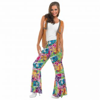 Womens Hippie Patterned Flares Costume