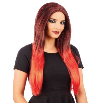 Black & Red Ombre Wig